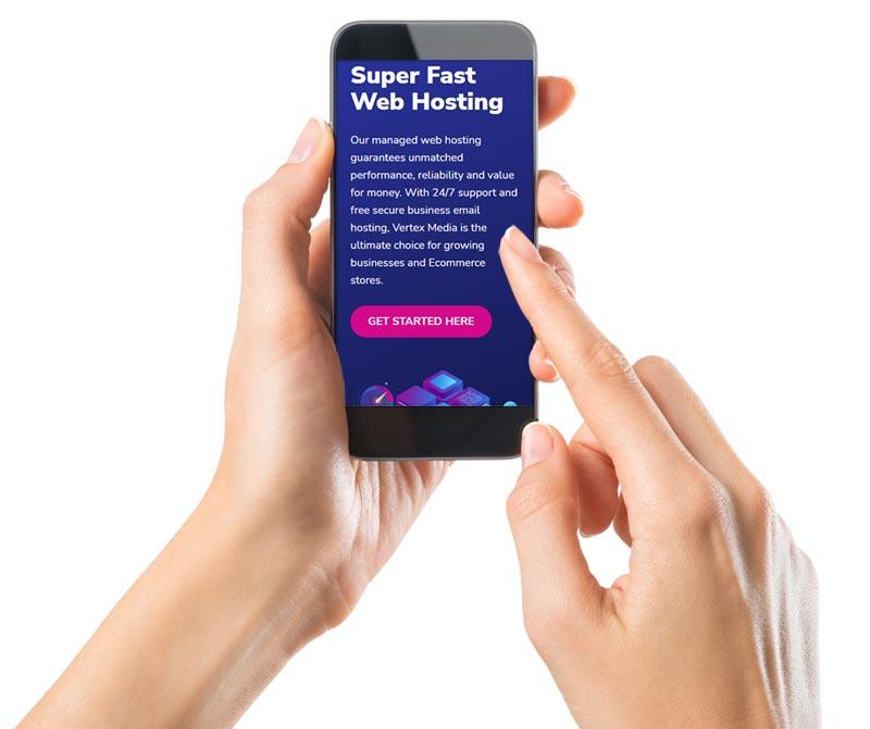 Smart Phone showing Super-fast Website Hosting Service Online